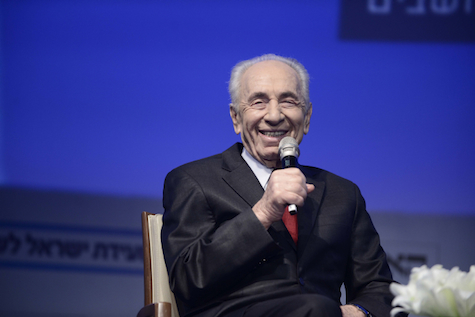 Persona non grata: Shimon Peres addresses the Israel Conference for Peace