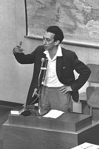 Abba Kovner testifying at the trial of Adolf Eichmann.