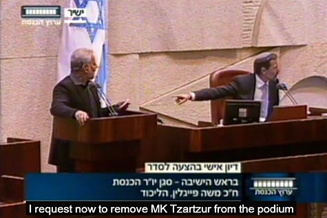 Feiglin Kicks Out Arab MKs