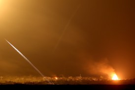Rockets fired from the Gaza Strip into Israel as seen from the Sderot.