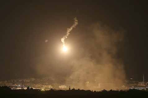 IAF launches flares over Gaza.