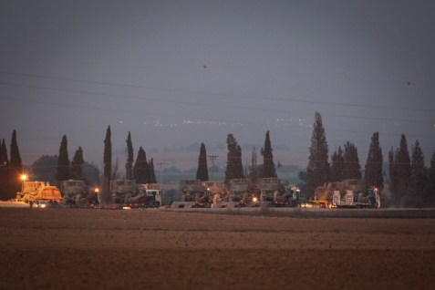 IDF armored personnel carriers are heading for the Gaza borders, July 6.