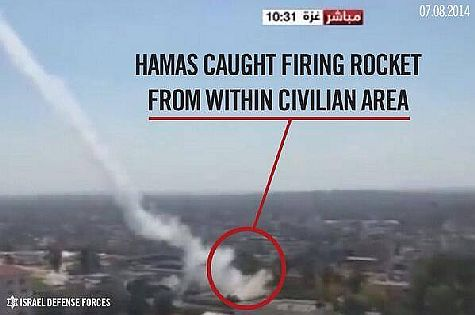 Hamas terrorists usually fired rockets at Israeli towns from civilian areas in Gaza.