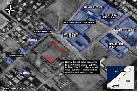 Map of Gaza City rocket launcher sites in school yard. July 22, 2014