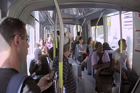 Inside the Jerusalem Light Rail. (file)