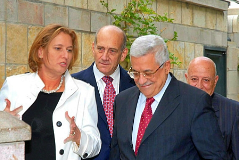 Justice Minister Tzipi Livni, Israel's moral guiding light, with friends, convicted former PM Ehud Olmert and Holocaust Denier Abu Mazen.