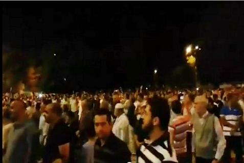 Hundreds of Muslims on the Temple Mount celebrating a rocket from Gaza hitting Jerusalem. July 8, 2014.