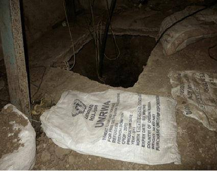 UNRWA bags once had wheat -- Hamas now uses them to hide evidence of digging. Where did they get them ... Friends of the IDF photo - FB