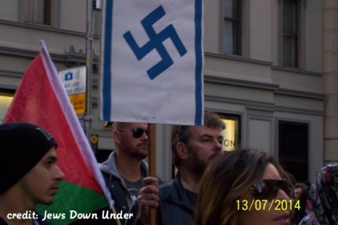Who ever said the anti-Israel hordes hate Jews?  An anti-Israel rally in Melbourne in July 2014.