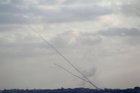 Rockets launched from Gaza at Israel.