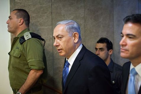 Prime Minister Binyamin Netanyahu on the way to another meeting.