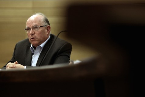 Former National Security Adviser Uzi Arad speaks at the State Control Committee at the Knesset, March 13, 2012..