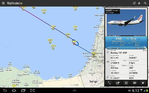 Flight Tracker for August 21, 2014 around 6am.