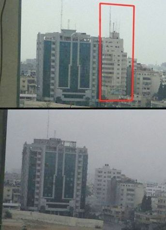 Gaza Building Before and After Aug 26 2014