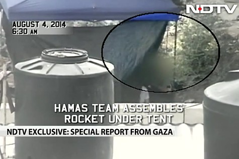 NDTV caught Hamas on camera assembling and launching a rocket at Israel.
