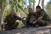 Chief of Staff Benny Gantz (L) seen during a visit to the IDF Givati brigade near the Israeli border with Gaza.