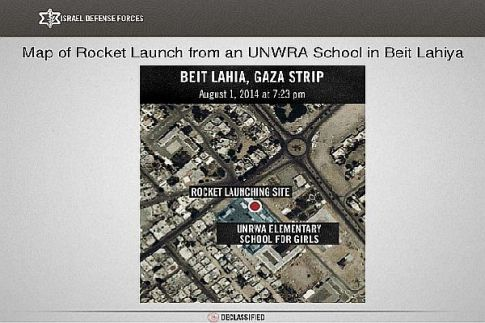 Terror rockets fired at Israeli civilians from a United Nations (UNRWA) girls school in Beit Lahiya, Gaza, on August 23, 2014.