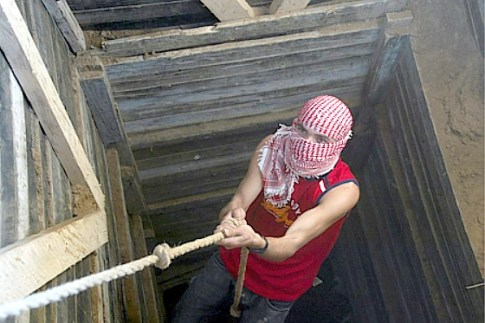 (Archive 2009) A tunnel digger in Gaza.