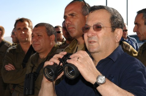Defense Minister Ehud Barak surveys the Golan Heights and Lebanon, Aug. 16, 2007