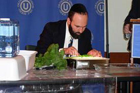 Rabbi checks for bugs in vegetables.
