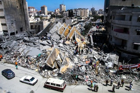 A Gaza building, reportedly used by Hamas, destroyed by the IDF on August 26, 2014.