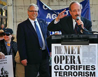 Cong. Eliot Engel (R) spoke at the anti-Klinghoffer rally on Sept. 22, 2014. Richard Allen (L) of JCC Watch, was one of the protest organizers.