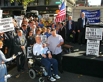 Detective Steven McDonald of the New York City Police Department was shot in the line of duty in 1986 and paralyzed from the neck down. He spoke at the rally against the Klinghoffer opera at the Metropolitan Opera on Sept. 22, 2014.