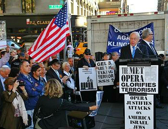 "Former Attorney General Michael Mukasey spoke at the rally against the Met Opera staging the ""Death of Klinghoffer"" on Sept. 22, 2014."