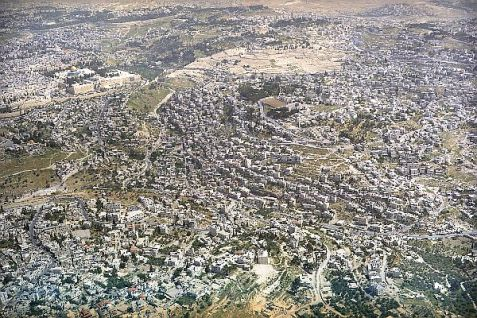 Aerial view of Yemenite Village of HaShiloach, Old City of Jerusalem and Mt. of Olives.
