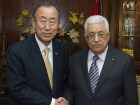 "Ban Ki-moon and PA Chairman Mahmoud Abbas at the Cairo conference to ""re-build"" Gaza, October 2014."