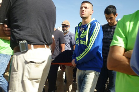 The body of Dalia Lamkus being escorted from the site of the funeral to the cemetery in Tekoa. Photo: Marc Gottlieb