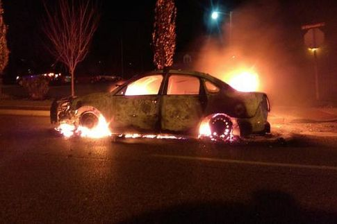 """Posted to Twitter in Ferguson, MO by St. Louis County Police: """"Bricks thrown at police, 2 police cars burned, gun seized by police. Tonight was disappointing.""""  Their motto is, """"To protec"""