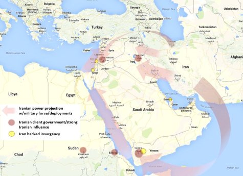 Iran's aggressively expanding posture across the region. (Google map; author annotation.)