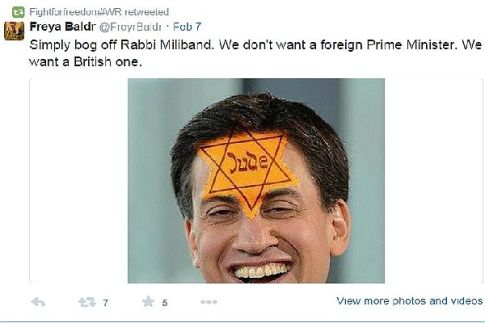 British MP Ed Miliband is not excluded from being targeted on Twitter by local anti-Semites, regardless of his liberal views.