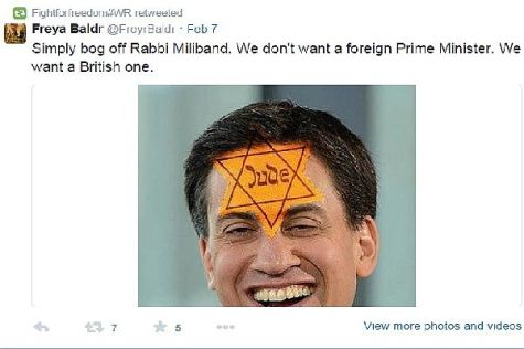 British MP Ed Miliband is not excluded from being targeted on Twitter by local anti-Semites, regardless of his liberal views.  This post was uploaded quite recently.