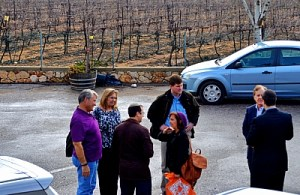 Congressmen arrive at the Gush Etzion winery. Feb. 16, 2015.