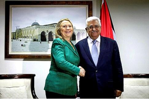 Hillary Clinton and PA acting president Mahmoud Abbas. Nov. 21, 2012
