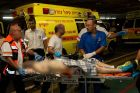 A wounded Israeli victim of a drive-by shooting terror attack near Shvut Rachel is brought to the Shaarei Tzedek hospital in Jerusalem.