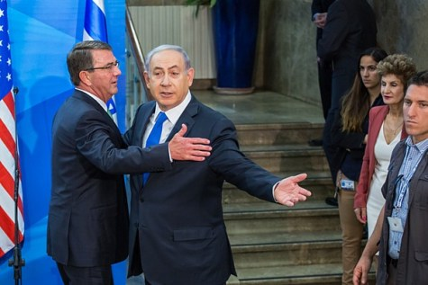 US Secretary of Defense Ash Carter and Israeli PM Benjamin Netanyahu.