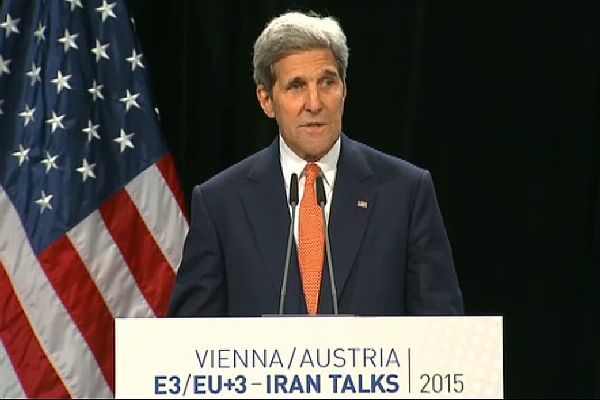 US Secy of State John Kerry announcing nuclear agreement with Iran from Vienna.