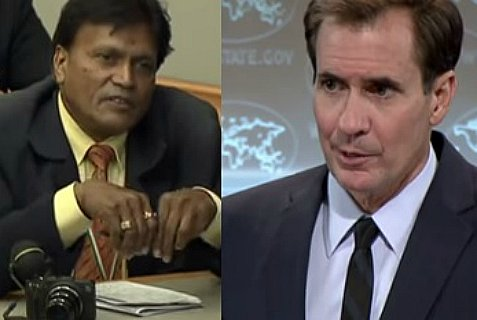 "Indian Globe reporter ""Goyal"" and Sate Dept. spokesman John Kirby."