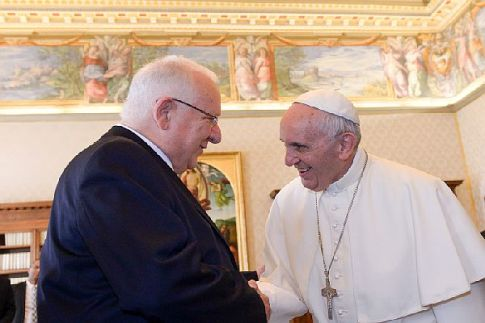 Israeli President Reuven Rivlin meets with Pope Francis during his visit to the Vatican in Rome, Italy.