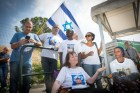 Families of Israelis missing in Gaza protest outside Prime Minister Benjamin Netanyahu's office prior to the approval voting of the Turkish-Israel reconciliation agreement. June 29, 2016