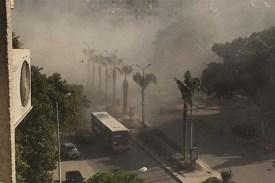 A bomb blast at entrance of the Giza pyramids
