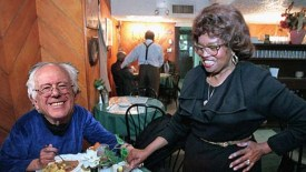 Bernies Sanders (L) with Sylvia Woods, owner of Sylvia's in Harlem (photomontage).