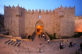 The Damascus Gate entrance to the Old City of Jerusalem, towards evening.