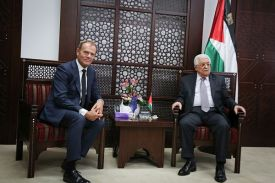 European Union Council President Donald Tusk, Palestinian Authority  leader Mahmoud Abbas.
