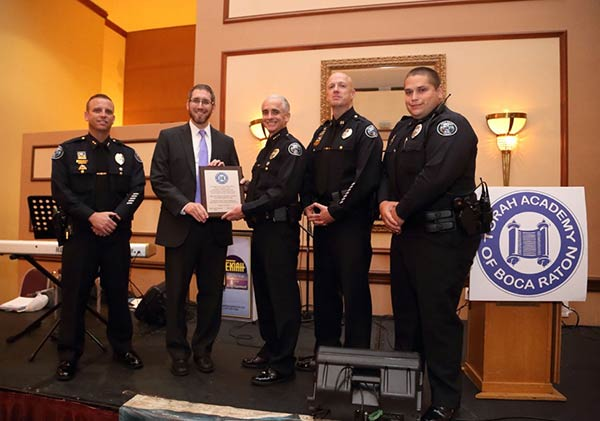 Boca Police Department receives special recognition at Torah Academy Anniversary Dinner.