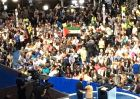 Palestinian Authority flag is raised by Florida delegation during platform vote at 2016 Democratic National Convention in Philadelphia.