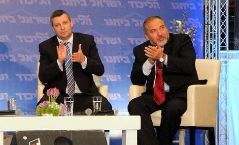 Former Tourism Minister Stas Misezhnikov (L) with Party Chief Avigdor Liberman